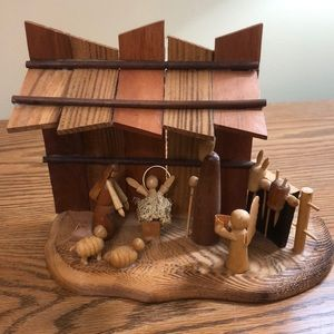 "Rustic Wooden Nativity Set 7.5""w x 6""t"